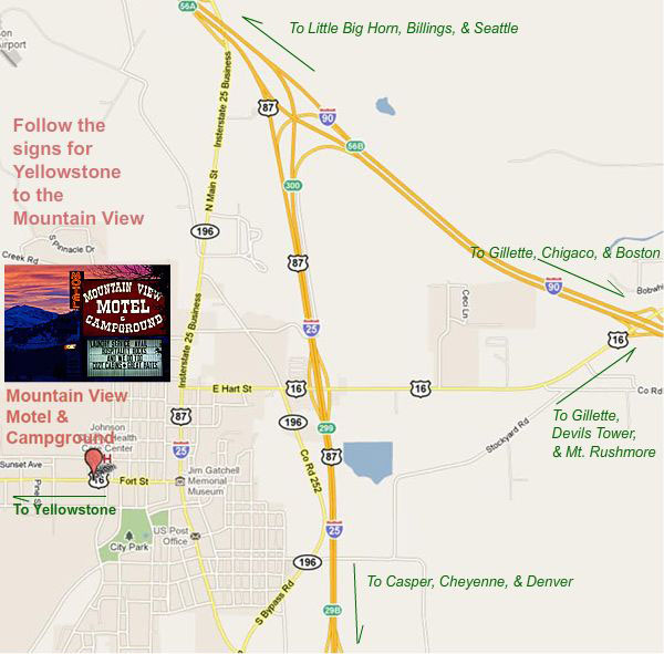 Mountain View Wyoming Map.Map Of The Mountain View Motel In Buffalo Wyoming
